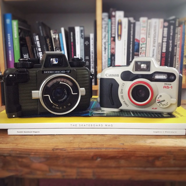 Buddies for rainy days. #Nikonos -V & #Canon Prima AS-1 #Bailgun  #rainyday