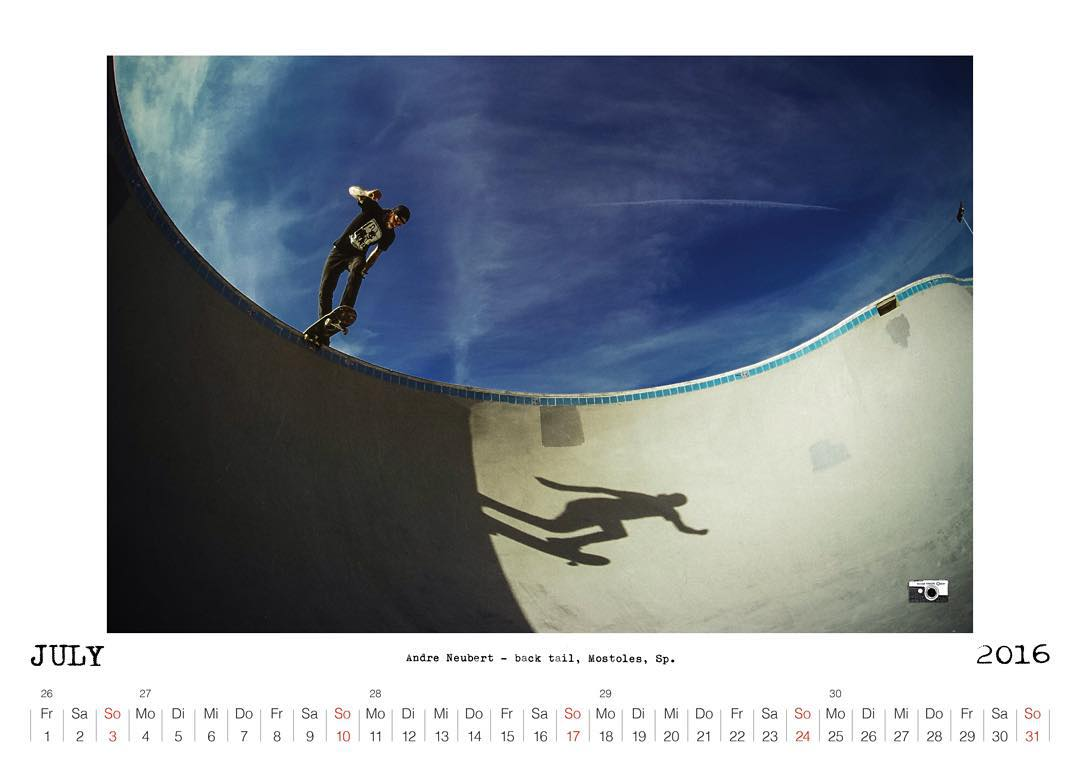 Bailgun Mag calendar 2016 available now!!! For info check www.bailgun.com  Andre Neubert, backtail, Mostoles, SP.  #Bailgun #Pool #skateboarding