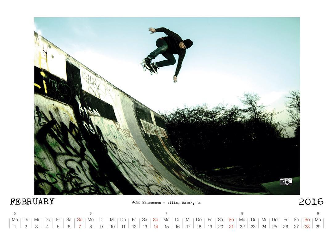 Bailgun Mag calendar February 2016 featuring John Magnusson with a JT air at Sibbarp. More Info here:  www.bailgun.com  #Bailgun #Sibbarp #Skatemalmo #bryggeriet