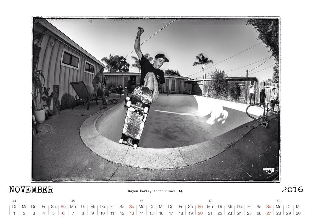 More Bailgun calendar previews coming up. November 2016 with @rayce_davis front blunt in a LA backyard #Bailgun #pool #bowl #skateboarding #zflexskateboards