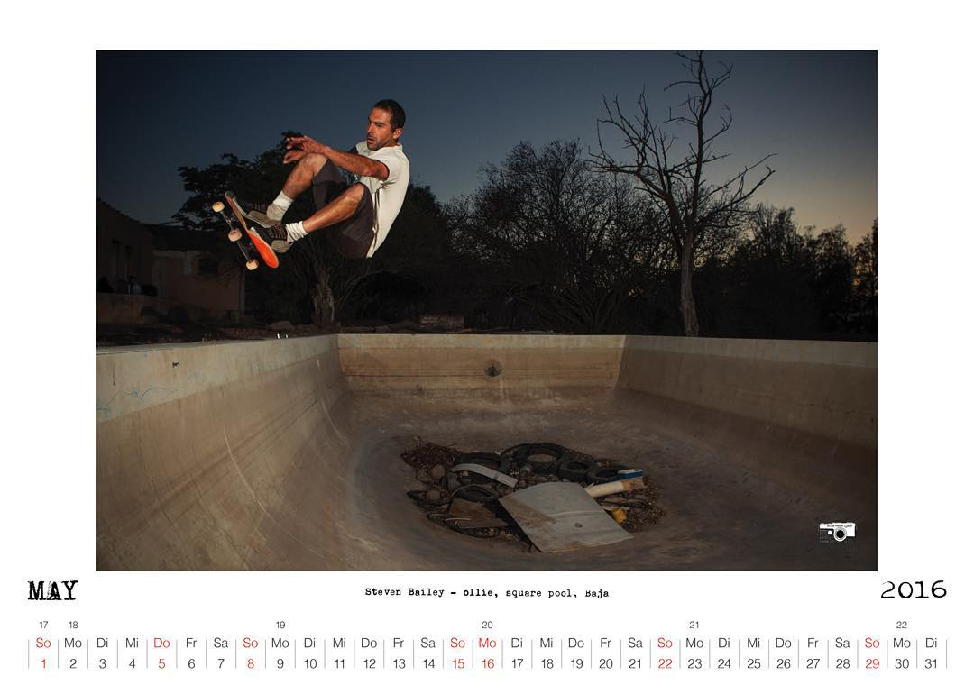 Bailgun Mag calendar preview May 2016, Steven Bailey ollies into the shallowend of some Baja square pool.  www.bailgun.com.  #Bailgun #skateboarding #pool #bowl #stevenbailey #consolidated #dontdoitarmy