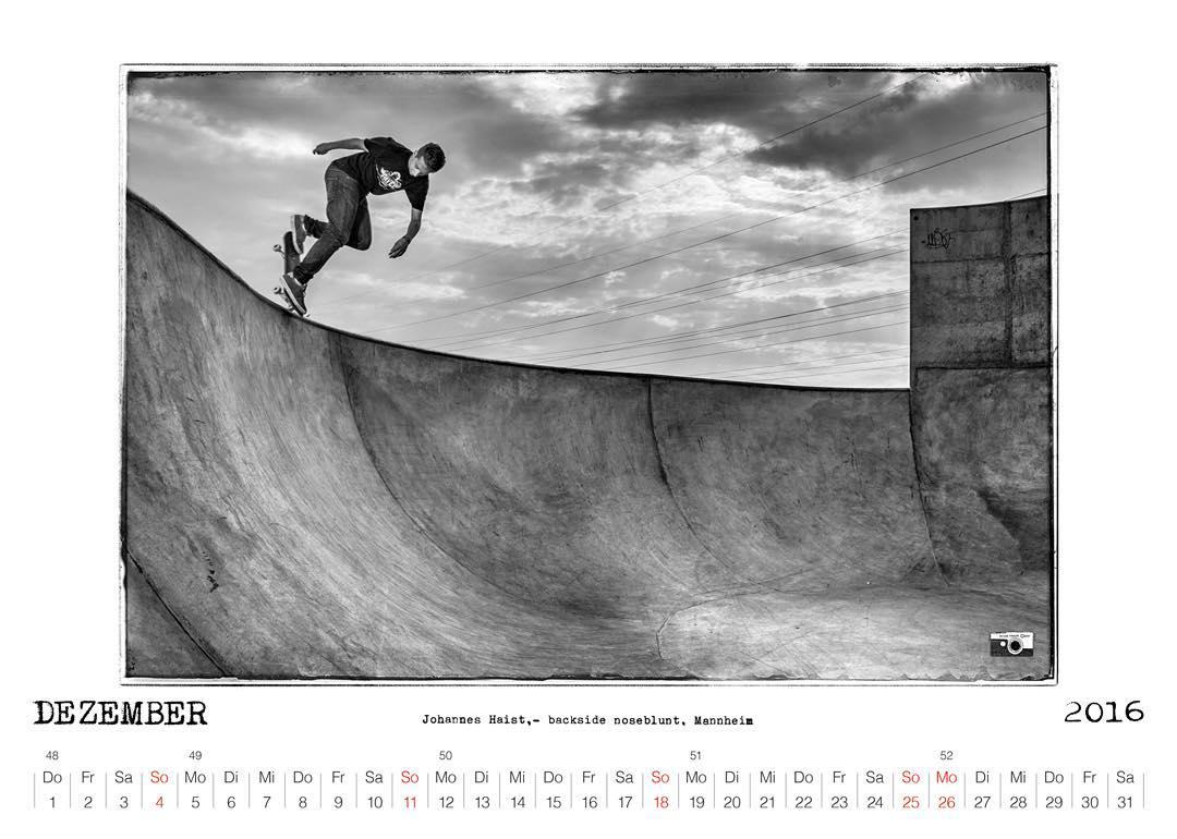 Bailgun Mag calendar preview Dezember 2016 - Johannes Haist bs noseblunt, Mannheim. #Bailgun #skatebording #pool #bowl