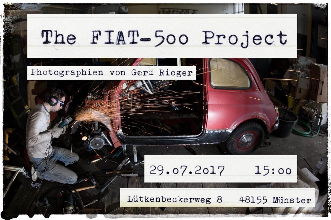 Photoexhibition next Saturday! July, 29th Come around and check out some cool photos from the FIAT-500 project. #fiat500 #peterpanofski #auto #oldtimer #restoration #photoexhibit #photography #exhibition #bailgun #gerdrieger.com