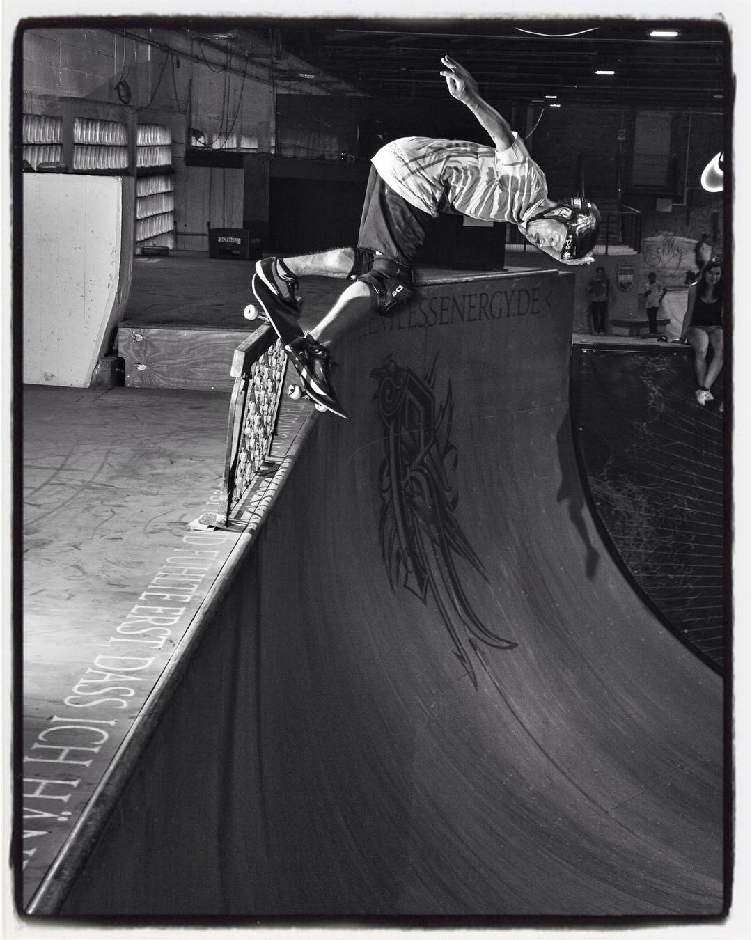 #flashbackfriday Jürgen Horrwarth rules!!! Monty grind on a rail on his ramp a few years ago. #vert #ramp #halfpipe #skateboarding #bailgun #gerdrieger.com