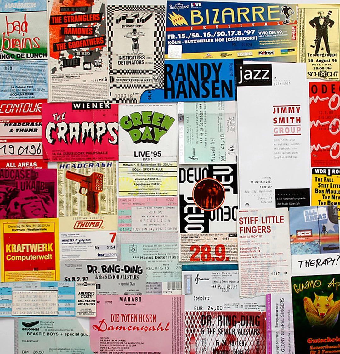 #throwbackthursday some old concert tickets. They used to look cool. #Musik #music #bands #Gigs #concert #tickets #badbrains #ramones #thecramps #devo #stifflittlefingers #slf #beastieboys #totenhosen #thumb #metallica #greenday #helgeschneider #jimmysmith #kraftwerk #bailgun