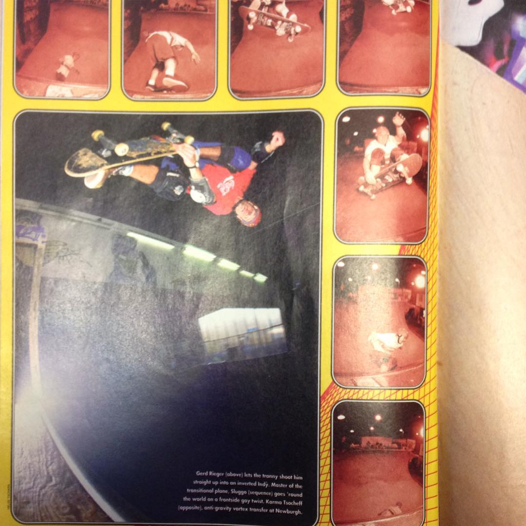 #throwbackthursday found this little gem the other day. Thrasher Mag from the mid 90's with me doing an indy air, yeah I used to skate😀. Cool to share the page with Sluggo doing a frontside gay twist. Thanks to Helge for shooting and sending it in and thanks to Thrasher for running it. @thrashermag @helgetscharn9321 #indyair #gunnair #bailgun #vert #skateboarding #halfpipe