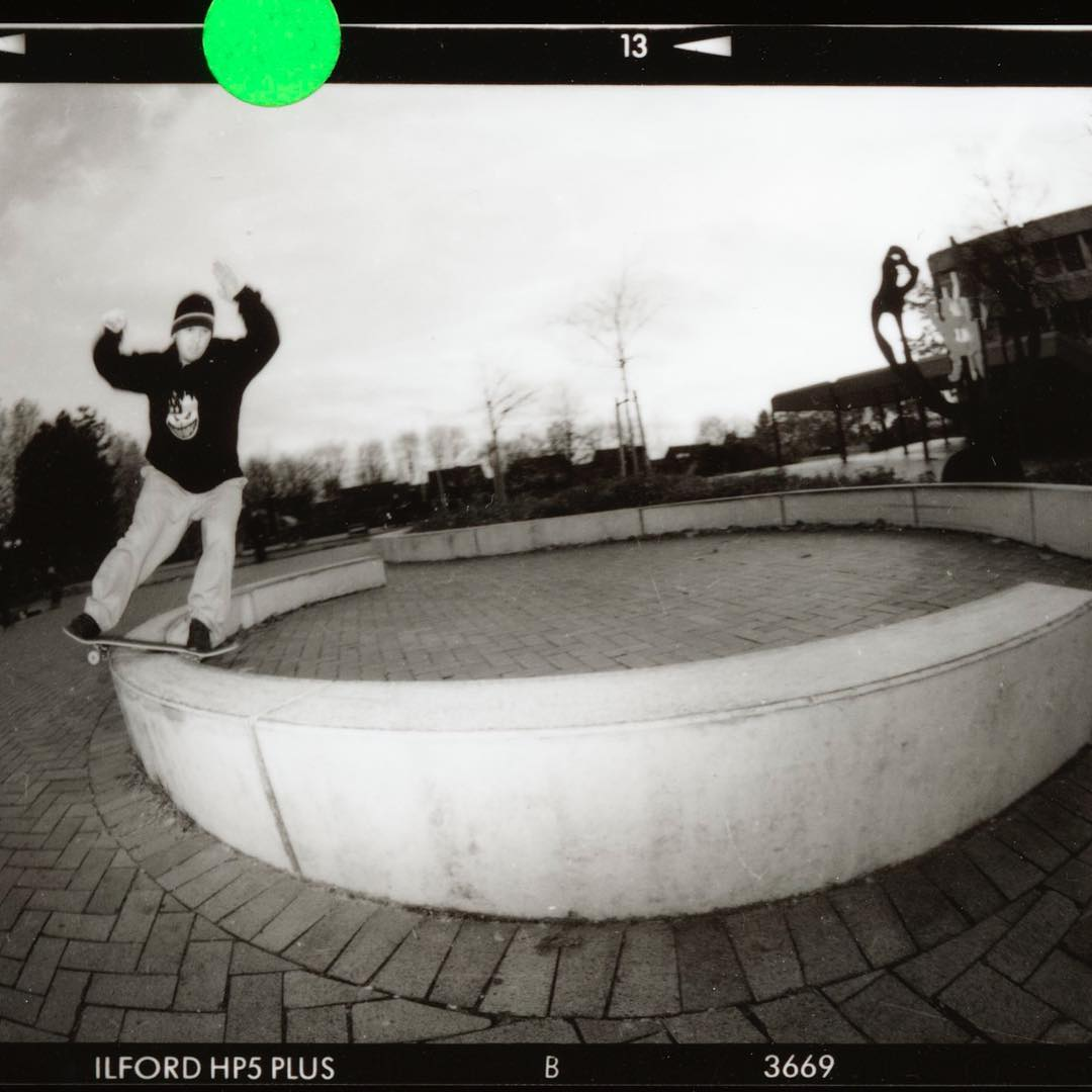 Happy Birthday Claus!  Boardslide to lipslide on the schoolyard near his house. This was shot for an Interview in Kingpin Magazine when it was new. Shot with a Pentax 6x7 and the 35mm fisheye. #clausgrabke #skateboarding #boardslide #kingpinmag #pentax67 #120 #analog #filmphotography #contactsheet #ilford #bailgun #gerdriegerphotography