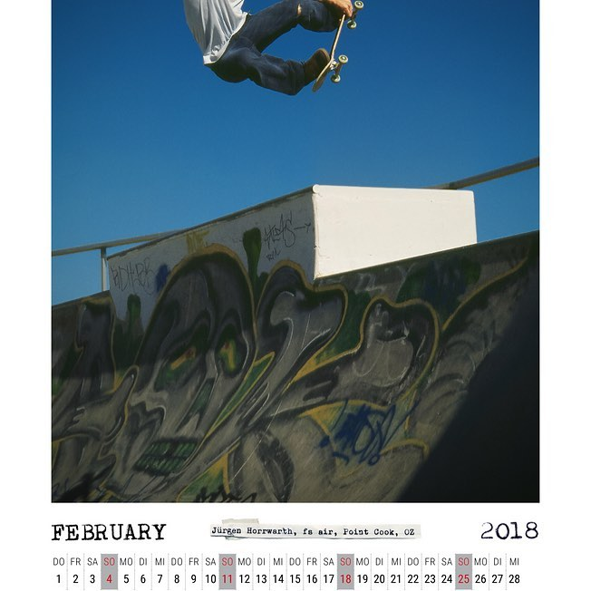 It's February, time to download the February calendar spread with Jürgen Horrwarth and a FSA in down under http://bailgun.com/media/calendar-pdf/ #bailgun #magazine #calendar #2018 #february #skateboarding #concrete #pool #bowl #fsa #NOTafrontsideindy #gerdriegerphotography