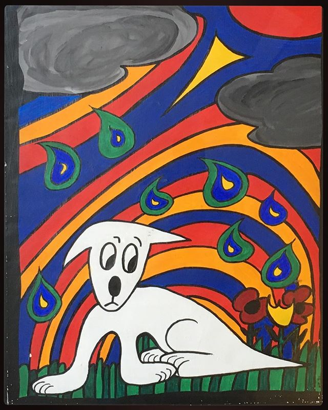 Rainy Day, mixed media, 1996 #painting #color #dog #rainyday #bailgun #magazine