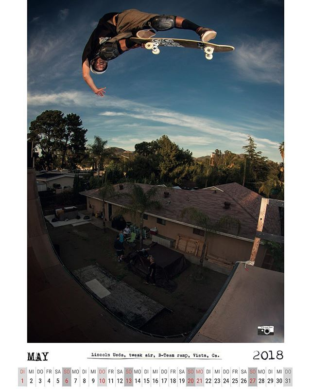 #flashbackfriday May 2018 calendar spread with Lincoln Ueda and a picture perfect version of a tweak air at the B-Team ramp #skateboarding #vert #ramp #halfpipe #keepvertdead #lincolnueda #backsideair #B-Team #bailgun #magazine #calendar #gerdriegerphotography