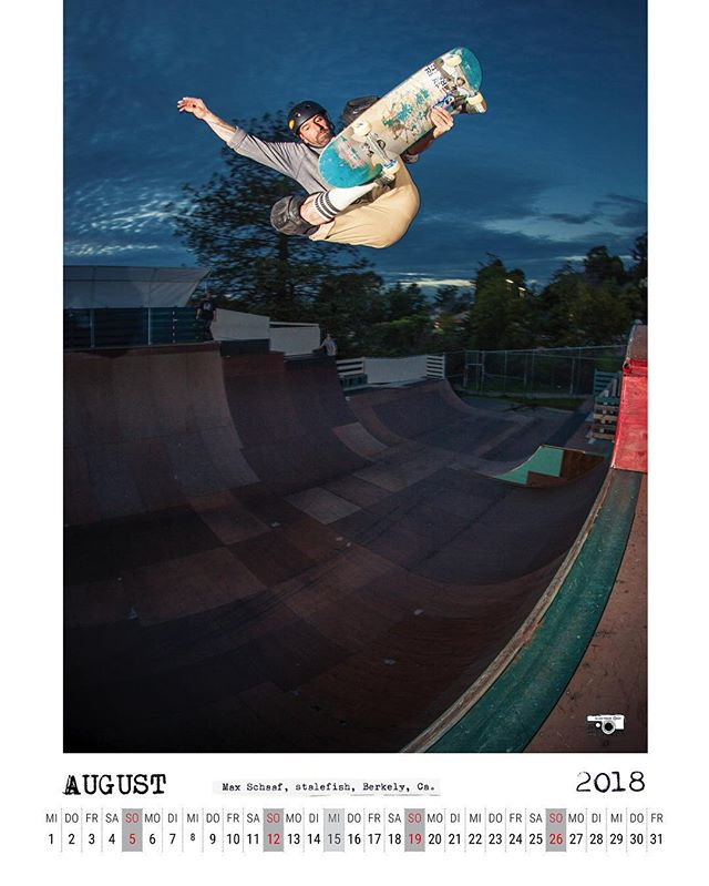 August 2018 calendar spread with Max Schaaf stalefishing at the Verkeley ramp. #skateboarding #vert #verkeley #stalefish #halfpipe #ramp #maxschaaf #4q #bailgun #magazine #gerdriegerphotography
